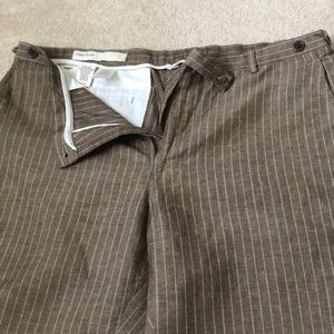 Perry Ellis Brown pin strip dress pants